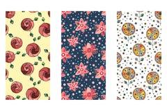 Set bezszwowa wektorowa ręka rysujący doodle dziecinny kwiecisty wzór Tło z dziecięcymi kwiatami, liście Dekoracyjny śliczny wykr Zdjęcie Royalty Free