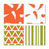 Set bezszwowi abstrakcjonistyczni pomarańcze i zieleni wzory royalty ilustracja