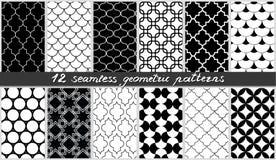 Set bezszwowi geometryczni wzory Islamscy czarny i biały elementów tła inkasowi wektor ilustracji
