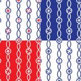 Set Bezszwowi nautyczni wzory na błękitnym, czerwonym, białym tle, ilustracja wektor