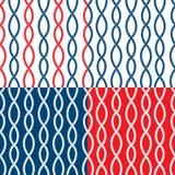 Set Bezszwowi nautyczni wzory na błękitnym, czerwonym, białym tle, Obrazy Royalty Free