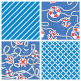 Set Bezszwowi nautyczni wzory na błękitnym tle Obraz Stock
