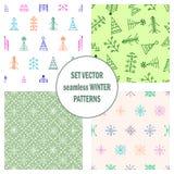 Set bezszwowi wektorów wzory z jedlinami, płatki śniegu sezonowy zimy tło z śliczna ręka rysującym jedlinowych drzew grafiki illu ilustracji
