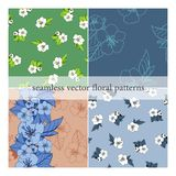 Set bezszwowi wektorów wzory z kwiatami ilustracja wektor