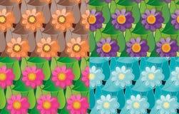 Set bezszwowi wektorowi kwiatów wzory Zdjęcia Stock