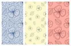 Set bezszwowi wektorowi kwieciści wzory Kolorowa ręka rysujący tło z kwiatami, liście, dekoracyjni elementy Graficzny illustra Zdjęcie Royalty Free