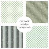Set bezszwowi wektorowi wzory Geometryczni tła z kropkami, kwadraty, przekątna, pionowo linie Grunge tekstura z otarciem ilustracja wektor