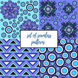 Set bezszwowi wzory w błękicie Obraz Royalty Free