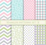Set bezszwowi wzory w pastelowych kolorach dla tkaniny, opakunkowego papieru lub świstka, Zdjęcia Royalty Free