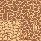 Set bezszwowi wzory z żyrafą i tekstura plamy na skórze ilustracja wektor