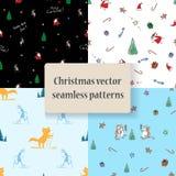 Set bezszwowi wzory z Cristmas i nowym rokiem Ilustracja Wektor