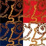 Set bezszwowi wzory z handdrawn Złocistymi łańcuchami Fotografia Stock