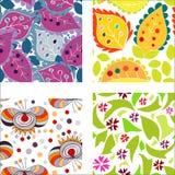 Set bezszwowi wzory z kolorowymi liśćmi Fotografia Royalty Free