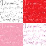 Set Bezszwowi wzory z ręki rysującymi sercami Obraz Stock