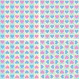 Set bezszwowi wzory z sercami Zdjęcia Stock