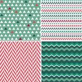 Set bezszwowi zieleni i czerwieni tła wzory Zdjęcie Royalty Free