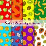 Set bezszwowy owoc i jagody wzór Obraz Stock