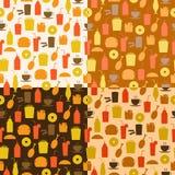 Set bezszwowy wzór fast food ikony ilustracji
