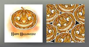 Set Bezszwowy wzór, tło z Halloweenową bani głową Zdjęcia Royalty Free