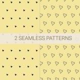 Set 2 bezszwowy wzór w czerni i kolorze żółtym z małymi sercami Doskonalić tkaniny i papieru projekt, pokryw książki, tła ilustracji
