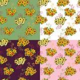 Set bezszwowy wzór z kwiatami royalty ilustracja
