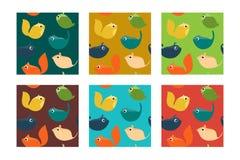 Set Bezszwowy wzór z zwierzętami domowymi i dzikimi zwierzętami Obrazy Royalty Free