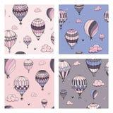 Set bezszwowy wz?r z balonami w pastelowych kolorach Du?o inaczej barwili pasiastych lotniczych balony lata w chmurniej? ilustracja wektor