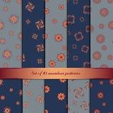 Set 10 bezszwowych wzorów z abstrakcjonistycznymi kwiatami Obrazy Stock
