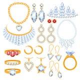 Set biżuterii rzeczy Zdjęcia Stock