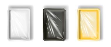 Set biały, żółty, czarny polistyrenowy pakować, z przejrzystym filmem pojedynczy białe tło ilustracji