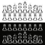 Set biały i czarny szachy, rywalizacja, intelektualna gra ilustracja wektor