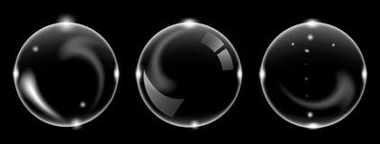 Set biały przejrzysty mydlany lotniczy bąbel, odosobniony na czarnym tle obraz stock