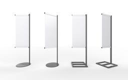 Set biały pusty sztandaru japończyka flaga pokaz z aluminium f ilustracja wektor