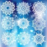Set biały round ornament z wzoru muśnięciem Obraz Royalty Free