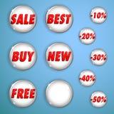 Set biali błyszczący guziki na sprzedaży Obraz Stock