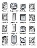 Set biali diamenty z prostokątów cięciami Obrazy Royalty Free