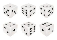 Set biali kostka do gry trzy wymiaru royalty ilustracja