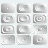 Set biali prostokątni guziki Zdjęcie Stock