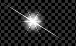 Set biali rozjarzeni światło skutki odizolowywał tło Słońce błysk z promieniami i światłem reflektorów Jarzeniowy światło Jaskraw ilustracja wektor