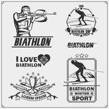 Set of biathlon emblems. Winter sport illustrations. Black and white Royalty Free Stock Photos