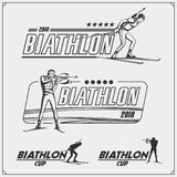 Set of biathlon emblems. Winter sport illustrations. Black and white Stock Photo