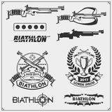 Set of biathlon emblems. Winter sport illustrations. Black and white Royalty Free Stock Images