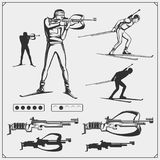 Set of biathlon emblems. Winter sport illustrations. Black and white Stock Image