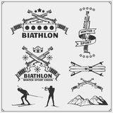 Set of biathlon emblems. Winter sport illustrations. Black and white Stock Photography