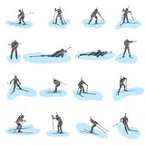 Set of biathlon grunge silhouettes Royalty Free Stock Photos