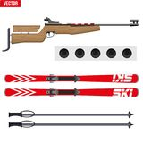 Set of Biathlon sport. Rifle with target and ski. Sporting equipment for winter games. Vector Illustration isolated on white background Royalty Free Stock Photo