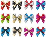 Bicolour satin bows isolated on white. Set of bicolour realistic beautiful satin bows for gift isolated on white. Vector illustration Royalty Free Stock Images