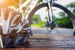 set bicycle equipment on a top wood Stock Photography