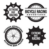 Set of bicycle extreme sport related logo, emblems Royalty Free Stock Photos