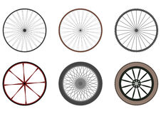 Set of bicycle and other vehicle wheels. Stock Images